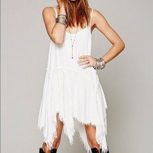 Free People cream Tattered Up slip dress